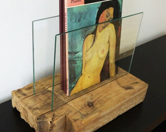 Modern Rustic Magazine Holder. Reclaimed Wood and Glass. Handmade Home Décor. Wood Magazine Rack. Placemats Holder