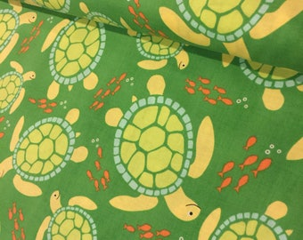 Sea Turtle Fabric Reef by Michael Miller Swimmin' in the Sea in Green Illust.Turtles Tropical Fish 100% Quality Cotton Yardage
