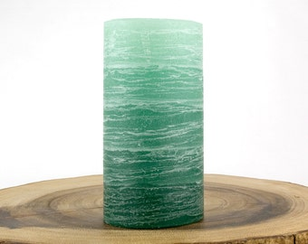 "Green Rustic Pillar Candle - 3x6"" - Layered Fade Style - Spring Candles - Rustic Decor"