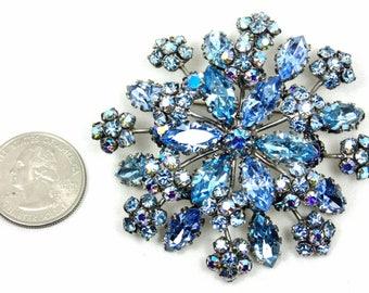 Signed Schreiner New York, Blue Rhinestone Brooch, Vintage Rhinestone Pin, Gift for Mom, Book Piece