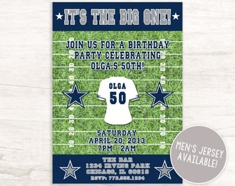 Football Themed Birthday Invitation for Men and Women- Inpired by Dallas Cowboys (Men's and Women's Jersey Available)