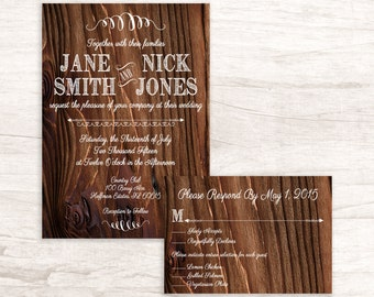 Rustic Country Themed Wedding Invitation