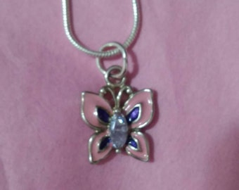 Charming petite enamel gem SS  butterfly on chain