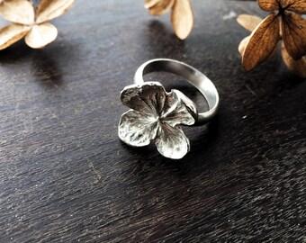 Sterling silver hydrangea flower ring