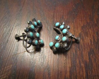 Zuni Earrings Sterling and Turquoise