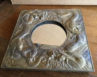 Antique Japanese Bronze Dragon Mirror