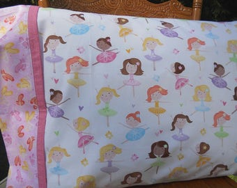 Ballerina Pillowcase, Girls Pillowcase, Toddler Pillowcase, Ballerina Bedding, Dance, Girl Birthday Gift, Diversity, Standard Pillowcase