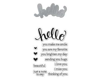 "Hero Arts Stamp & Cut HELLO clear 3""x4"" Stamp with metal Die set - DC151 1.cc02"