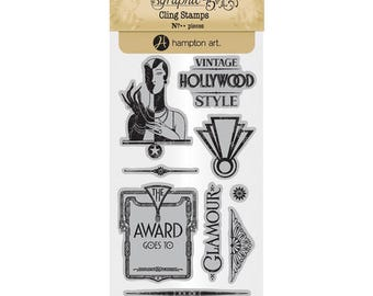 Graphic 45 VINTAGE HOLLYWOOD 3 Cling Stamps IC0379S cc55
