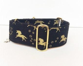 Magical Unicorns martingale collar (dog collar, greyhound martingale, gold metallic mythical creature unicorn gallop black)