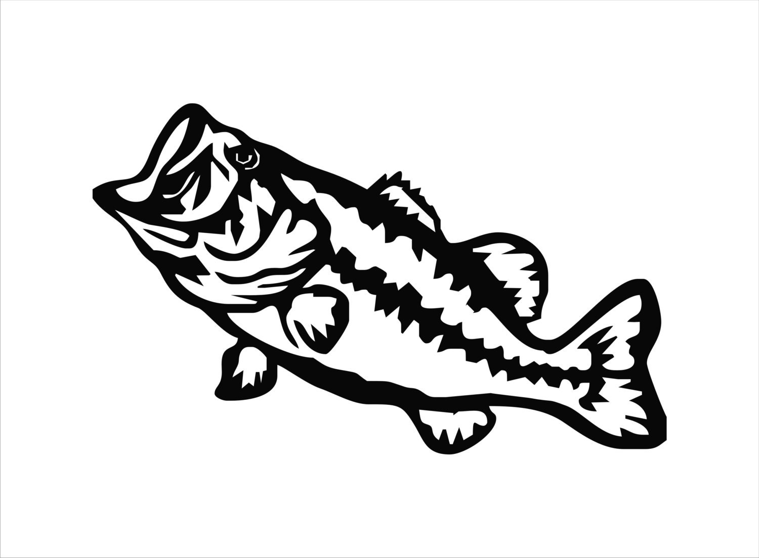 Largemouth bass vinyl decal largemouth bass sticker bass for Free fishing stickers