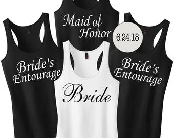 Bridesmaid Shirts Set with Date.Wedding Shirts.Bachelorette Tanks Shirts.Bride Tank Top.Set of 3 4 5 6 7 8.Bridesmaid Tank Top.Wedding Tanks