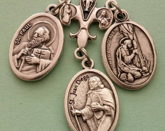 Converts Prayer Talisman *medal cluster,Christian,St Paul,St Juan Diego,St Mary Magdalene,St Peter,St Luke,St Mark,good luck,Catholic saints