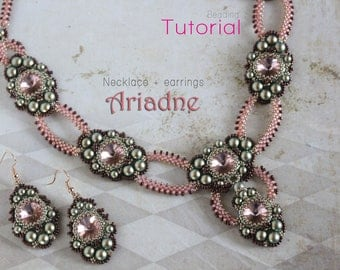 Tutorial for beadwoven necklace and earrings 'Ariadne' - PDF beading pattern - DIY
