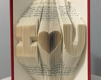 Custom Wedding Anniversary Gift For Him For Her For Husband For Wife - Folded Book Art (2 initials + heart) - Personalized Home Decor