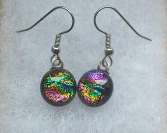 Pink, Gold, Green and Blue dichroic glass earrings,  Fused glass jewelry,  Colorful Dichroic glass earrings, Dangle earrings,  EA238