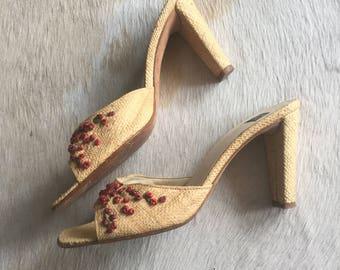 Vintage Basket Weave Floral Pumps / Open Toe Heels / Nineties 1990s 90s / Size 7 1/2