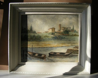 Antique French Large Landscape Oil Painting on Wooden,Signed by Artist.C.Becouse.