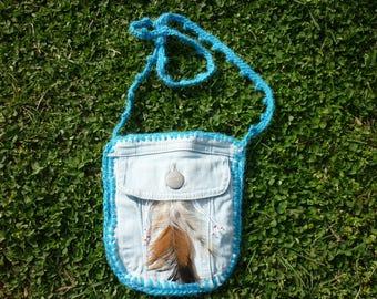 Crochet festival purse, festival purse, tribal american indian medicine bag, denim feather charm, Indian Medicine Bag, flower festival bag