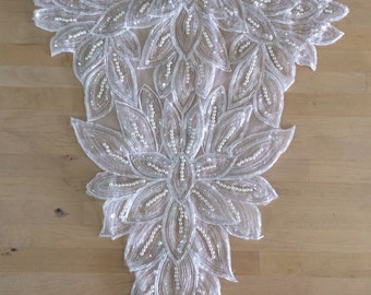 Vintage White Beaded Applique