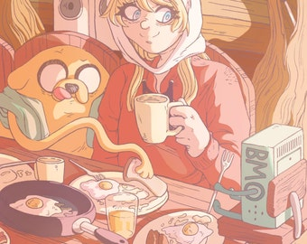 BREAKFAST TIME Adventure Time Postcard / Poster