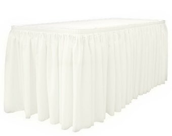 "14' x 29""-White Linen Like Soft Table Skirt Non Woven-Polyester/Nylon Blend 1 pc"