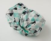 Turquoise Triangles AI2 OS Snap Closure Diaper