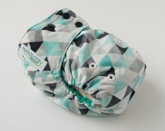 Turquoise Triangles AI2 OS Snap Closure Diaper