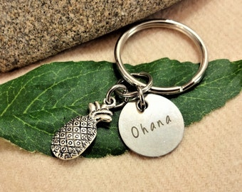 "OHANA PINEAPPLE KEYCHAIN - Read ""item details"" below and see all photos - see ""add on upgrade"" section to add an initial charm"