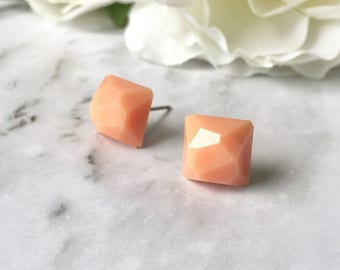 Peach Apricot Sherbet Orange Faceted Square Gem Resin Post Earrings. Nickel Free. Made by Hand in Australia. For Sensitive Ears.