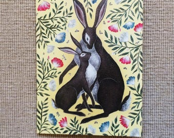 Mother & Baby Hare Greetings Card