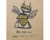 birthday card, bee greeting card, bee card, buzzing about your birthday, bee illustrations, ink, character, gift, birthday, craft, kraft