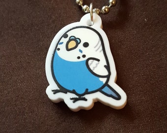 "Chubby Blue Parakeet/Budgie 1"" Pendant and Stainless Steel Ball Chain Necklace"