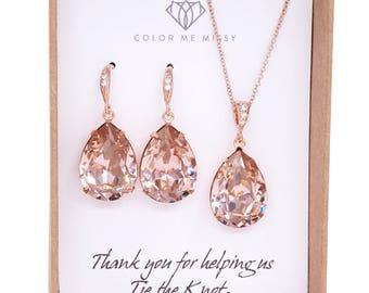 Rose Gold Bridal Vintage Rose Swarovski Crystal Teardrop Earring Necklace - bridal pink gold weddings, bridesmaid earrings, Carrie