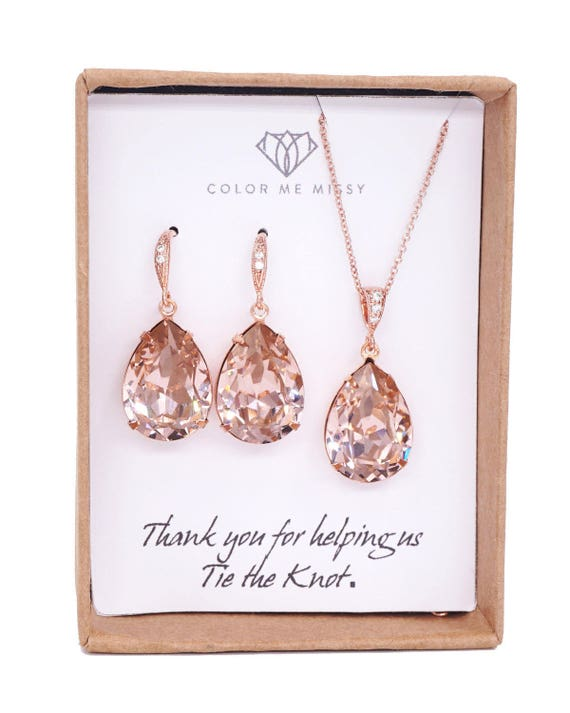 Rose Gold Bridal Vintage Rose Swarovski Crystal Teardrop Earring Necklace - bridal pink gold weddings, bridesmaid earrings, Carrie