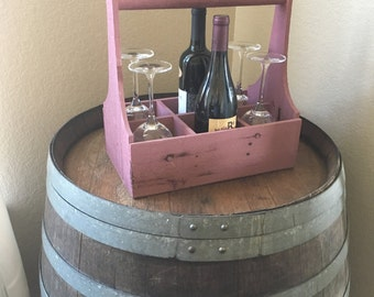 Rustic Pink Wooden Wine Caddy