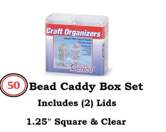 """Bead Container 50 Mini Bead Containers Bead Organizer Jewelry Findings 1.25""""(2) Lids Beads charms safe keep beads Rhinestones Bead Container"""