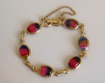 Rainbow Bracelet. Sarah Cov Bracelet. Colorful Bracelet. Glass Cab Bracelet. Signed Bracelet.