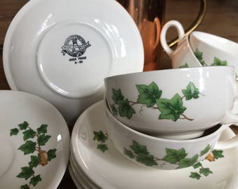 Paden City Pottery, Ivy pattern, no trim, cups and saucers, set of 7