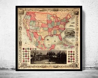 Antique Map of United States America 1891