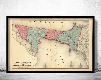 Old Map of Bayonne New Jersey 1872