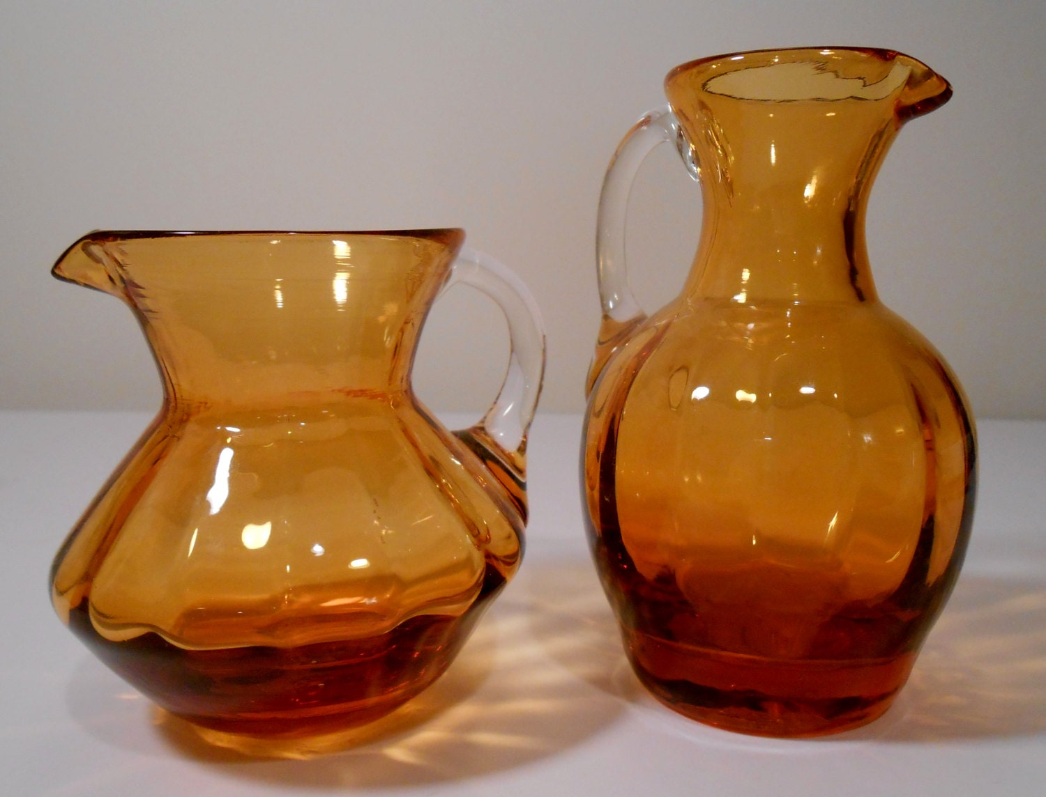 Amber glass vase pitcher hand blown set of two details hand blown amber glass vasepitcher floridaeventfo Image collections