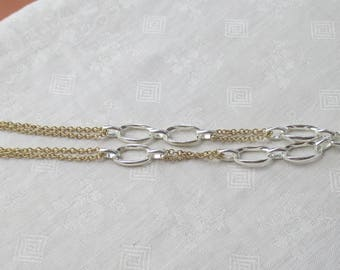 Retro Two Tone Aluminum Link Chain Necklace