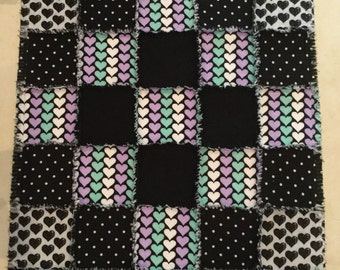 Flannel quilt, Baby blanket, Black white quilt, Baby shower, polka dot bedding, hearts blanket; 10% of PP to charity to buyer's choice