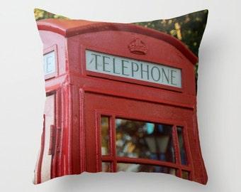 London Phone Pillow, Retro Phone pillow, Red Throw pillow, Telephone Pillow, UK Phone Booth, Telephone Kiosk, K1 K2, K6, British Phone Booth