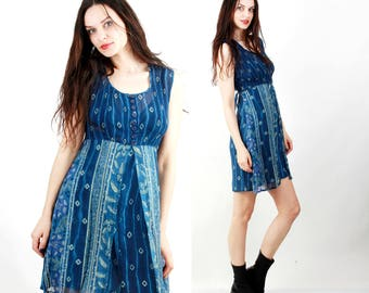 Blue Dress / Grunge Dress / Tie Dye Dress / Summer Dress / Mini Dress / Sleeveless Dress Size S / M