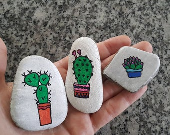 Set of 3 Cactus and Succulent Handpainted Beach Stones Paperweights