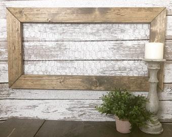 Rustic Memo Board | Chicken Wire | Farmhouse Decor | Jewlry Holder | Picture Holder | Farmhouse Chicken Wire Memo Board