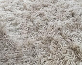 Handwoven Flokati Wool Area Rug Transylvania Bed Throw Traditional Romanian Bedcover Wool Blanket Shaggy Rug