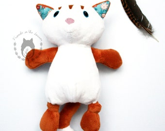 Cat, softie, soft toy, woodland themed bedroom, cat lover toy, plush stuffed toy, CE certified toy, wildlife, children's birth unisex gift